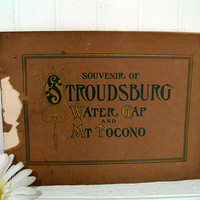 Souvenir of Stroudsburg Water Gap And Mt Pocono Black & White Photo Memento Booklet Early Pennsylvania Tourism Resort Pictures History Book