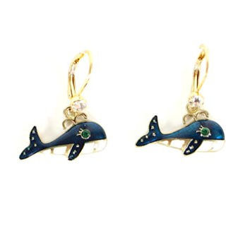 Blue Whale Drop Earrings Vintage Crystal Gold Tone EF50 Fashion Jewelry