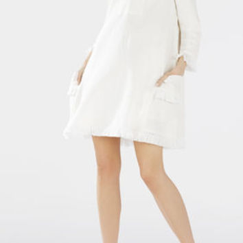 Trysta Fringe Dress - White
