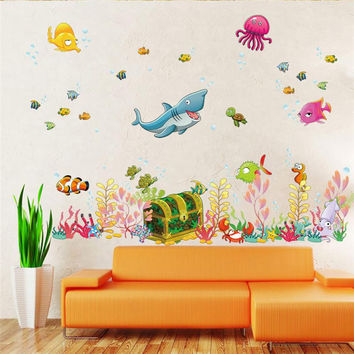 Deep sea world fish animals wall stickers room decorations cartoon mural art zoo children home decals poster 1307. 4.0 SM6