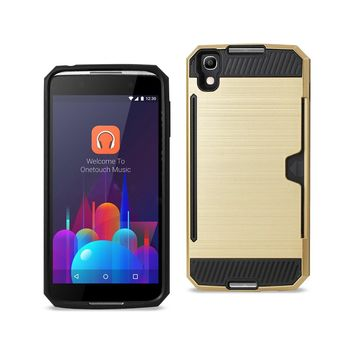 New Alcatel One Touch Idol 4 Slim Armor Hybrid Case With Card Holder In Gold