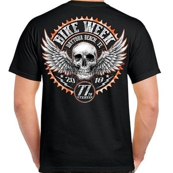 100% Cotton Fashion T Shirt Biker Week Biker Tattoo Skull Motorcycle Tee Shirt