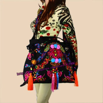 2-usage Vintage Hmong Tribal Ethnic Thai Indian Boho shoulder bag messenger purse bag hobo tote bag embroidery , SYS-388