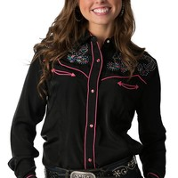 Wrangler Women's Black with Multicolor Floral Embroidery & Crystals Long Sleeve Western Shirt