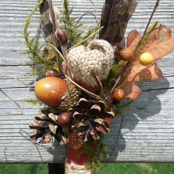 Rustic Shotgun Shell Bout! Pheasant feathers, berries, acorns and cones make this bout something your guys will love to wear!
