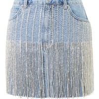 MOTO Dazzle Fringe Denim Skirt