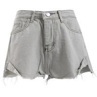 Chic Side Slit Unedged Denim Shorts
