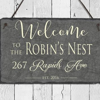 Customizable Slate Welcome Sign - Home Address Plaque - Handmade and Personalized