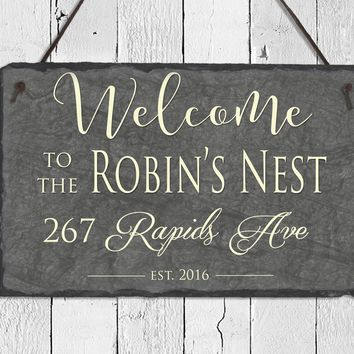 Handmade and Customizable Slate Welcome Sign - Home Address Plaque