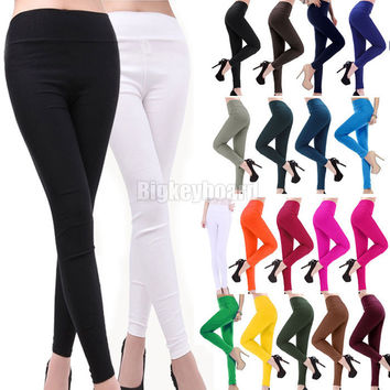 2014 Fashion New Womens Candy Color Rainbow Skinny Slim fit Fitness Stretchy Pencil Pants Trousers Size XL XXL Free Shipping