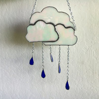 Iridescent Storm Cloud Stained Glass Suncatcher