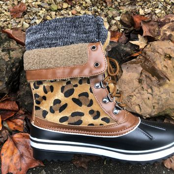 Leopard Print Duck Boots Sock Top Fur Trimmed Fleece Lined