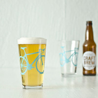 4 bike pint glasses turquoise bicycle by vital on Etsy