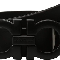 Salvatore Ferragamo Men's Adjustable Tonal Gancini Belt - 679673 Black 38