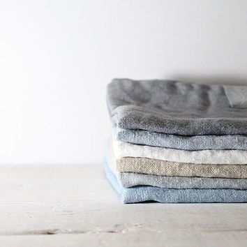 Set of 6 linen towels. Washed, natural, eco - friendly, handmade linen towels