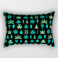 Leaf Shapes and Arrangements Pattern Dark Rectangular Pillow by Kathrinmay