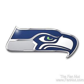 Seattle Seahawks 3D COLOR Chrome Auto Emblem Home Decal NFL Football