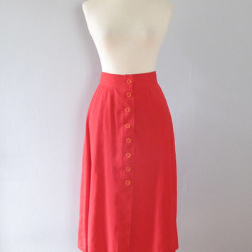 red full skirt - 70s vintage bright cherry high waisted mod knee length midi button up a line mod retro cotton ILGWU made in usa 1970s
