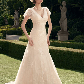 Casablanca Bridal 2178 Fluted Lace Sleeve Wedding Dress