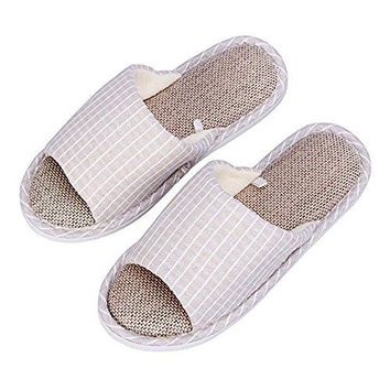 WILLIAM&KATE Women's and Men's House Slippers Memory Foam Cotton Slippers Flax Slippers Non-Slip Open Toe Couple Mules Shoes Soft Cozy & Washable