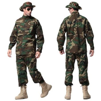 US Army Tactical Uniform Woodland Camouflage Suit Military Combat Uniform Set Shirt + Pants Clothing Outdoor Hunting Clothes Men