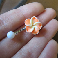 Orange Hawaiian Flower Plumeria Belly Button Ring Hawaii Navel Stud Jewelry Bar Barbell Piercing Tropical Hibiscus