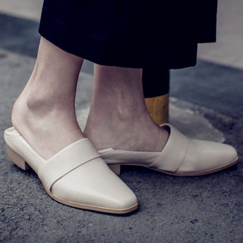 Summer Leather Square Toe With Heel Shoes Slippers [4919953604]