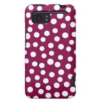 Maroon White Polka Dots Pattern HTC Vivid Cover from Zazzle.com