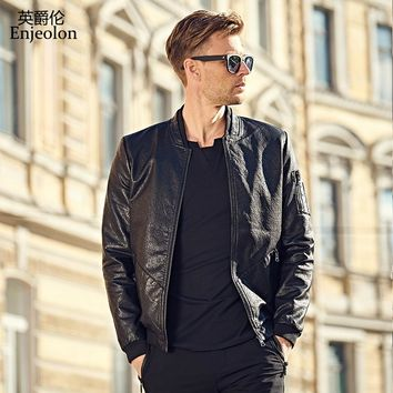 black Motorcycle Leather PU Jackets coat Men stand collar fashion winter coat Male Casual Coats