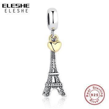 925 Sterling Silver PARIS EIFFEL TOWER PENDANT CHARM with Gold Heart Charm fit Origina