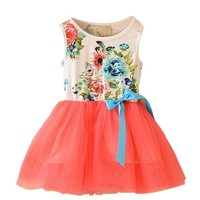 Urparcel Baby Girls Floral Tulle Tutu Dress Princess Bowknot Vest One Piece