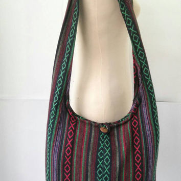 Nepali Cotton Crossbody Shoulder Bag Sling Hippie Hobo Boho Yam Diaper Purse Tote Thai bag Nepalese Cross Body Tribal Woven Aztec Print