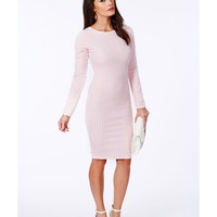 Missguided - Clea Dogtooth Midi Dress In Baby Pink