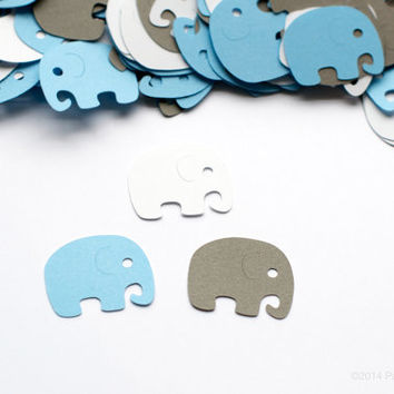 Baby Shower Decoration Elephant Confetti Blue Gray