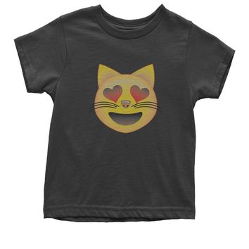 (Color) Emoticon - Heart Eyes Cat Face Smiley Youth T-shirt