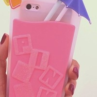 Pink Hot Summer Tumbler Fruit Umbrella Drink iPhone 5/5s Soft Phone Case