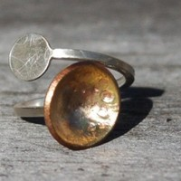 "Adjustable Ring of Recycled Sterling Silver and Brass--""Planets Ring"""