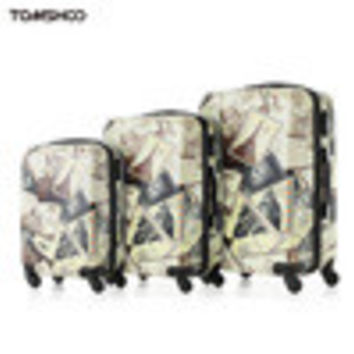 "TOMSHOO Vintage Suitcase Sets For Girls Rolling Bag Designer Luggage PCABS Travel Trolley 20""24""28"" Password Eiffel Luggage SM6"