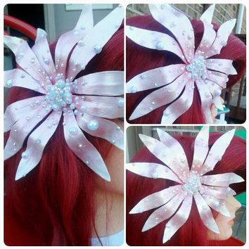 Mermaid Inspired Sea Flower Hair Adornment- Many colors to pick from! - Swarovski Crystals, Iridescent Pearls, Bubble beads