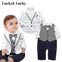 getlema baby boy white coat+ striped rompers chig set wedding suit
