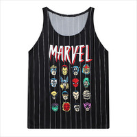 Black Marvel Hero Striped Mesh Tank Top