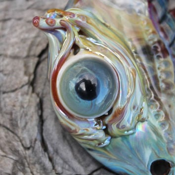 Third Eye Pendant . Lampwork Glass Eyeball Pendant . Hand Blown Glass Eye Pendant