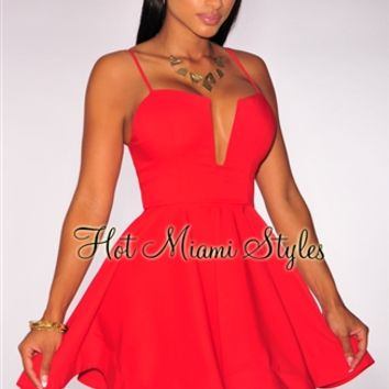 Red Plunging Flared Padded Dress