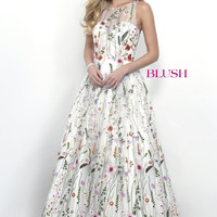 Blush Floral Full Skirt Dress- Off-white/Multi