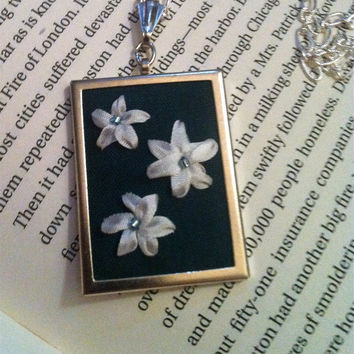 Green and White Embroidered Flower Pendant by BeanTownEmbroidery