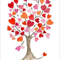 Hearts tree No. 2 original water color painting, pink orange red, Valentine, anniversary, birthday, weddings, girly, dorm decor, mothers day