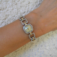 Vintage DIOR Bulova Sterling Silver 14K Ladie's Wrist Watch Rare 1974 Couture Model Philippe Guibourge