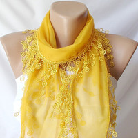 SALE % 20 - Was 15 Now 12-Yellow, Saffron, English mustard Cotton Scarf with Lace