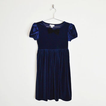 navy blue velvet dress, velvet mini dress, velvet babydoll dress, babydoll mini dress, bow-tie dress, bow dress, 90s grunge dress, xxs xs