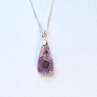 Handmade Necklace Daisy set into eco Resin Teardrop - Botanical Resin Pendant, Real Pressed Flower Encased in Resin, Reiki charged